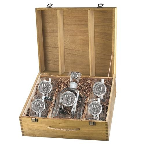 "Wake Forest University ""WF"" Capitol Decanter Set w/ Box"