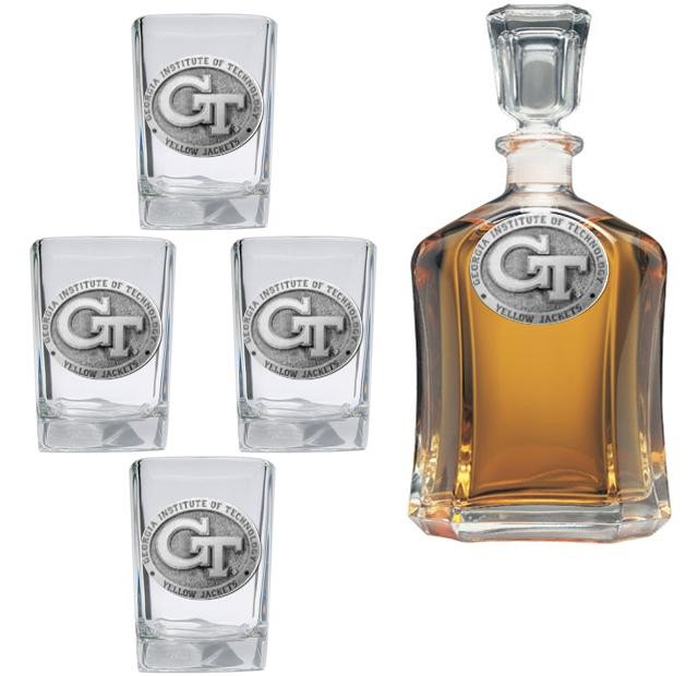 """Georgia Institute of Technology """"GT"""" Capitol Decanter Set"""