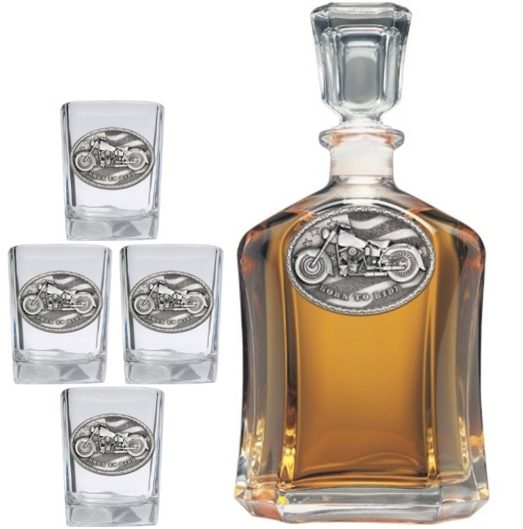 Motorcycle Capitol Decanter Set