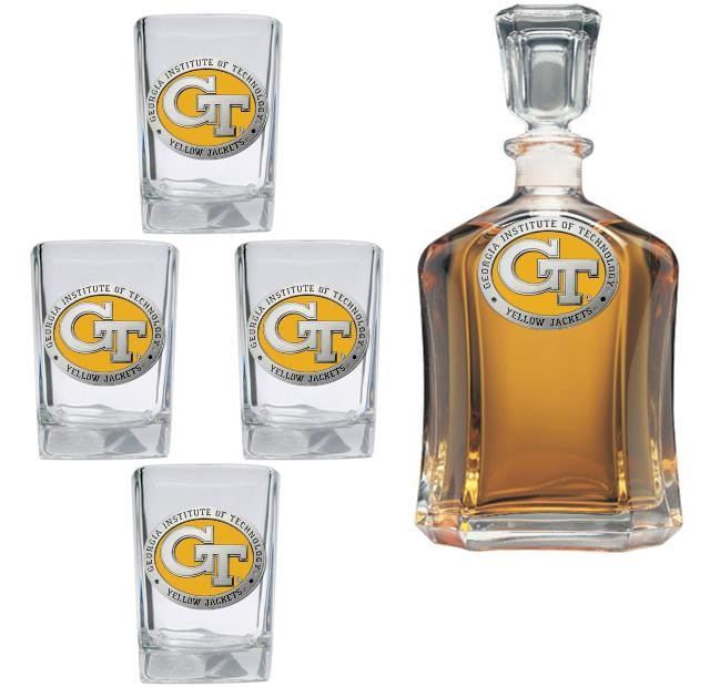 """Georgia Institute of Technology """"GT"""" Capitol Decanter Set - Enameled"""
