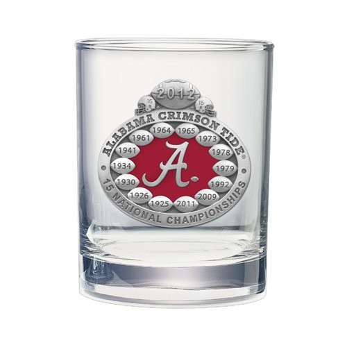 2012 BCS National Champions Alabama Crimson Tide Double Old Fashioned Glass - Enameled