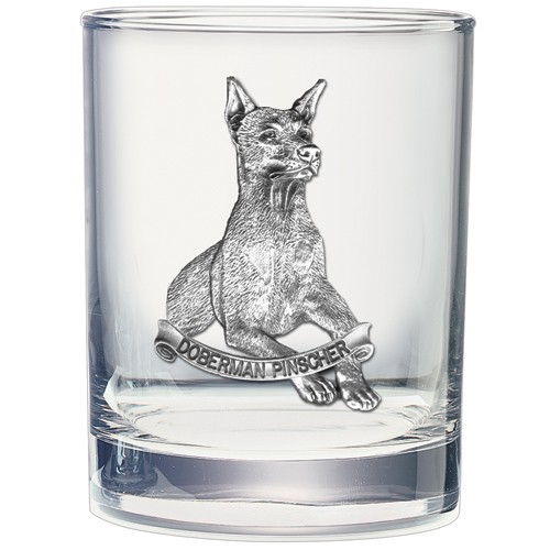 Doberman Pinscher Double Old Fashioned Glass