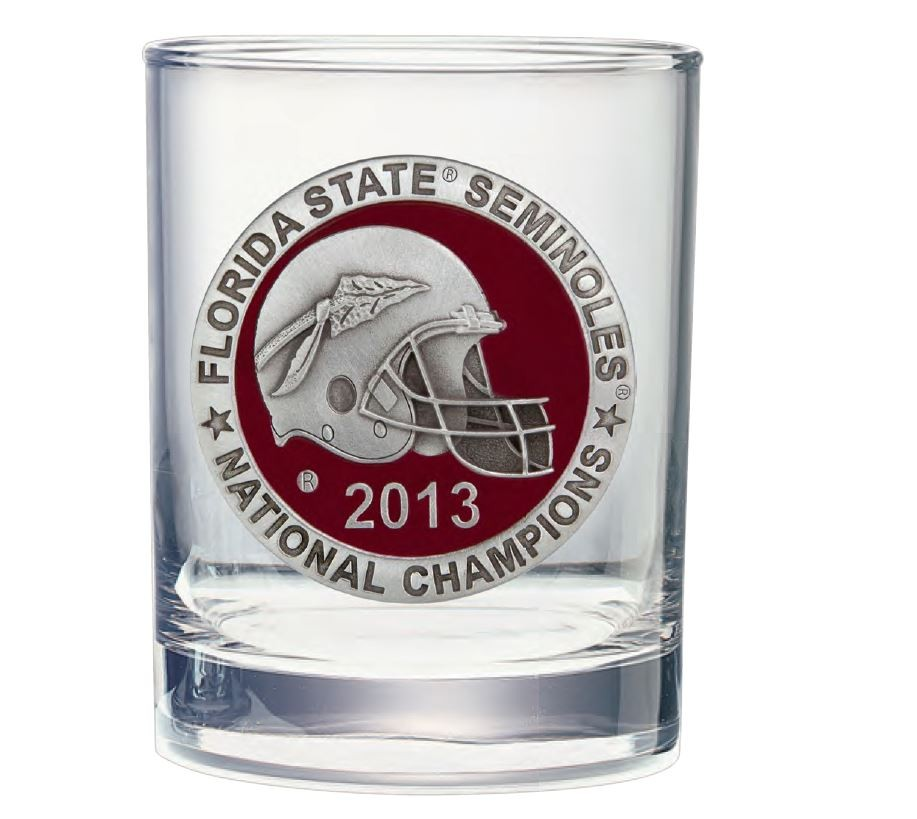 2013 BCS National Champions Florida State Seminoles Double Old Fashioned Glass - Enameled