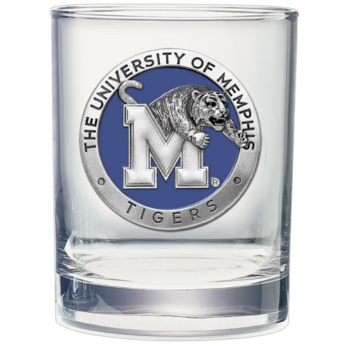 University of Memphis Double Old Fashioned Glass - Enameled