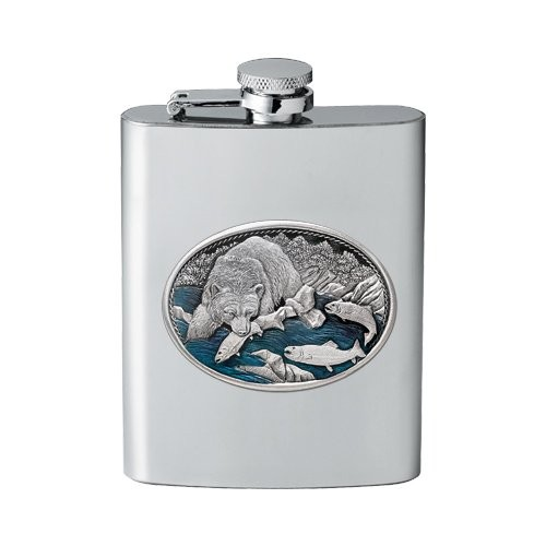 Brown Bear with Fish Flask - Enameled
