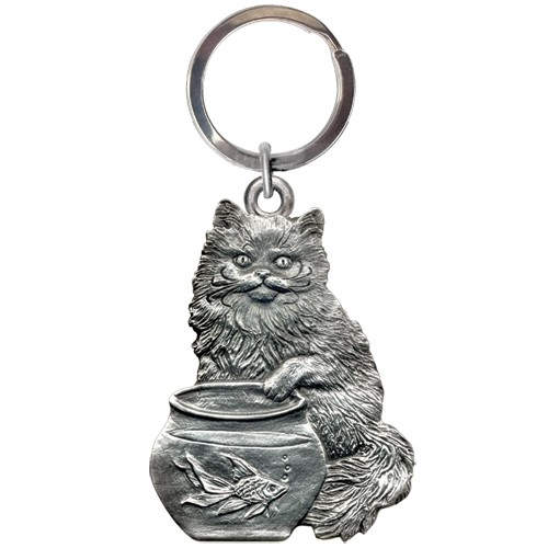 Cat Fishing Key Chain