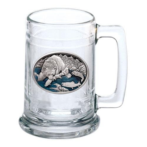 Brown Bear with Fish Stein - Enameled