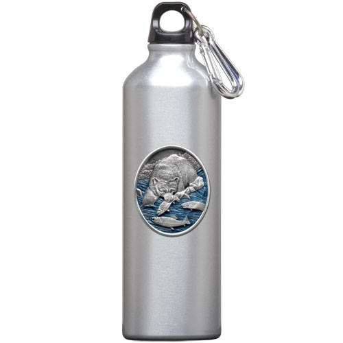 Brown Bear with Fish Water Bottle - Enameled