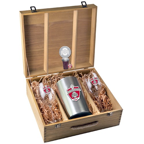 2014 BCS National Champions Ohio State Buckeyes Wine Set w/ Box - Enameled