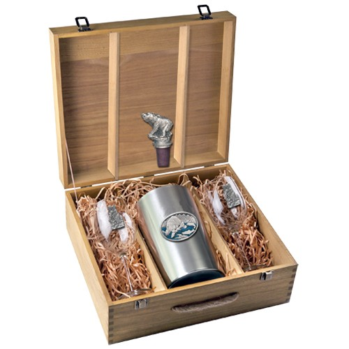Brown Bear with Fish Wine Set w/ Box - Enameled