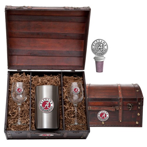 "Alabama ""A"" Crimson Tide Wine Set w/ Box - Enameled"