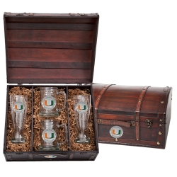 University of Miami Beer Set w/ Chest - Enameled