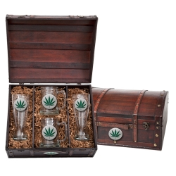 Marijuana Beer Set w/ Chest - Enameled