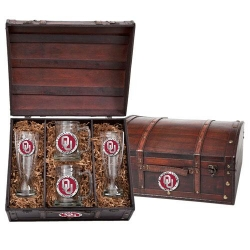 "University of Oklahoma ""OU"" Beer Set w/ Chest - Enameled"