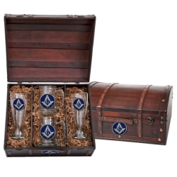 Masonic Square & Compass Beer Set w/ Chest - Enameled
