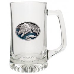 Brown Bear with Fish Super Stein - Enameled