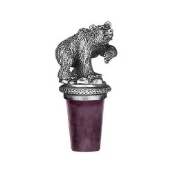 Grizzly Bear Pewter Bottle Stopper