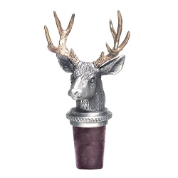Mule Deer w/ Brass Antlers Pewter Bottle Stopper