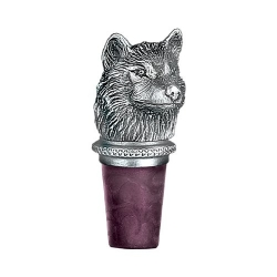 Wolves Pewter Bottle Stopper