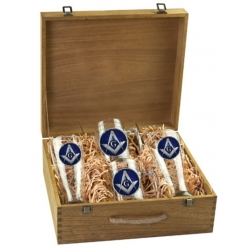 Masonic Square & Compass Beer Set w/ Box - Enameled