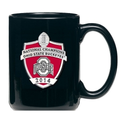 2014 BCS National Champions Ohio State Buckeyes Black Coffee Cup - Enameled