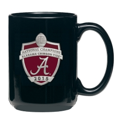 2015 CFP National Champions Alabama Crimson Tide Black Coffee Cup - Enameled