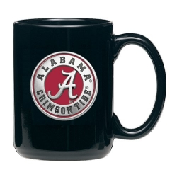 "Alabama ""A"" Crimson Tide Black Coffee Cup - Enameled"