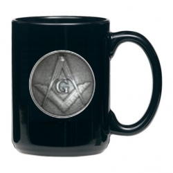 Masonic Square & Compass Black Coffee Cup