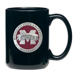 "Mississippi State University ""M"" Black Coffee Cup - Enameled"