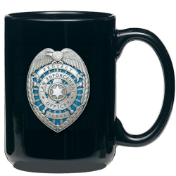 Law Enforcement Black Coffee Cup - Enameled