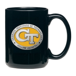 "Georgia Institute of Technology ""GT"" Black Coffee Cup - Enameled"