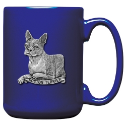 Boston Terrier Cobalt Coffee Cup