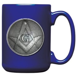 Masonic Square & Compass Cobalt Coffee Cup
