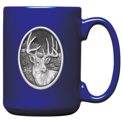 Whitetail Deer Cobalt Coffee Cup