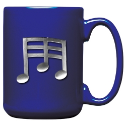 Musical Notes Cobalt Coffee Cup