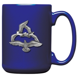 Sea Gulls Cobalt Coffee Cup