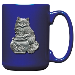 Cat Fishing Cobalt Coffee Cup