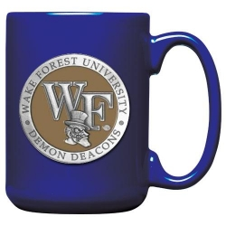 """Wake Forest University """"WF"""" Cobalt Coffee Cup - Enameled"""