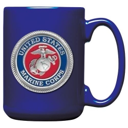 "Marine Corps ""USMC"" Cobalt Coffee Cup - Enameled"