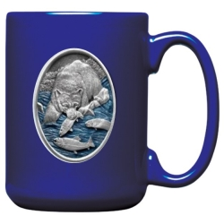 Brown Bear with Fish Cobalt Coffee Cup - Enameled