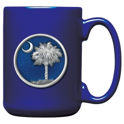 South Carolina Palmetto Cobalt Coffee Cup - Enameled