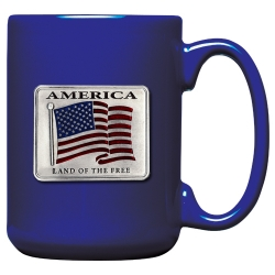 US Flag Cobalt Coffee Cup - Enameled