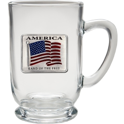 US Flag Clear Coffee Cup - Enameled