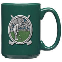 "Golf ""Putter"" Green Coffee Cup - Enameled"