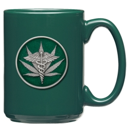 Marijuana #2 Green Coffee Cup - Enameled