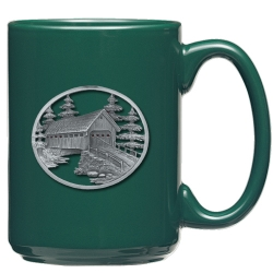 Covered Bridge Green Coffee Cup