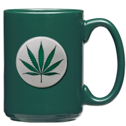 Marijuana Green Coffee Cup - Enameled