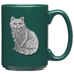 Cat Sitting Green Coffee Cup