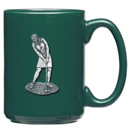 Lady Golfer Green Coffee Cup