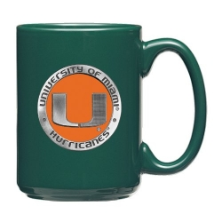University of Miami Green Coffee Cup - Enameled